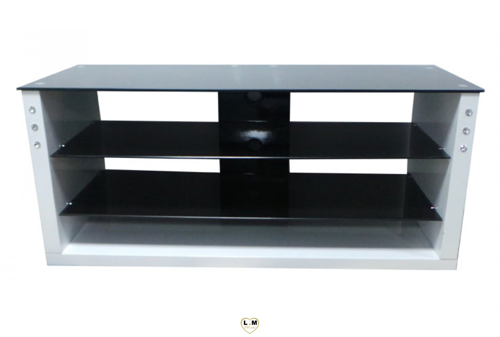 tv03b meuble tv laque blanc verre noir lignemeuble com. Black Bedroom Furniture Sets. Home Design Ideas