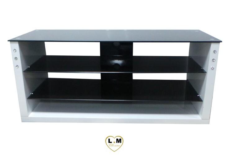 Tv03b meuble tv laque blanc verre noir lignemeuble com - Meuble tv verre noir ...