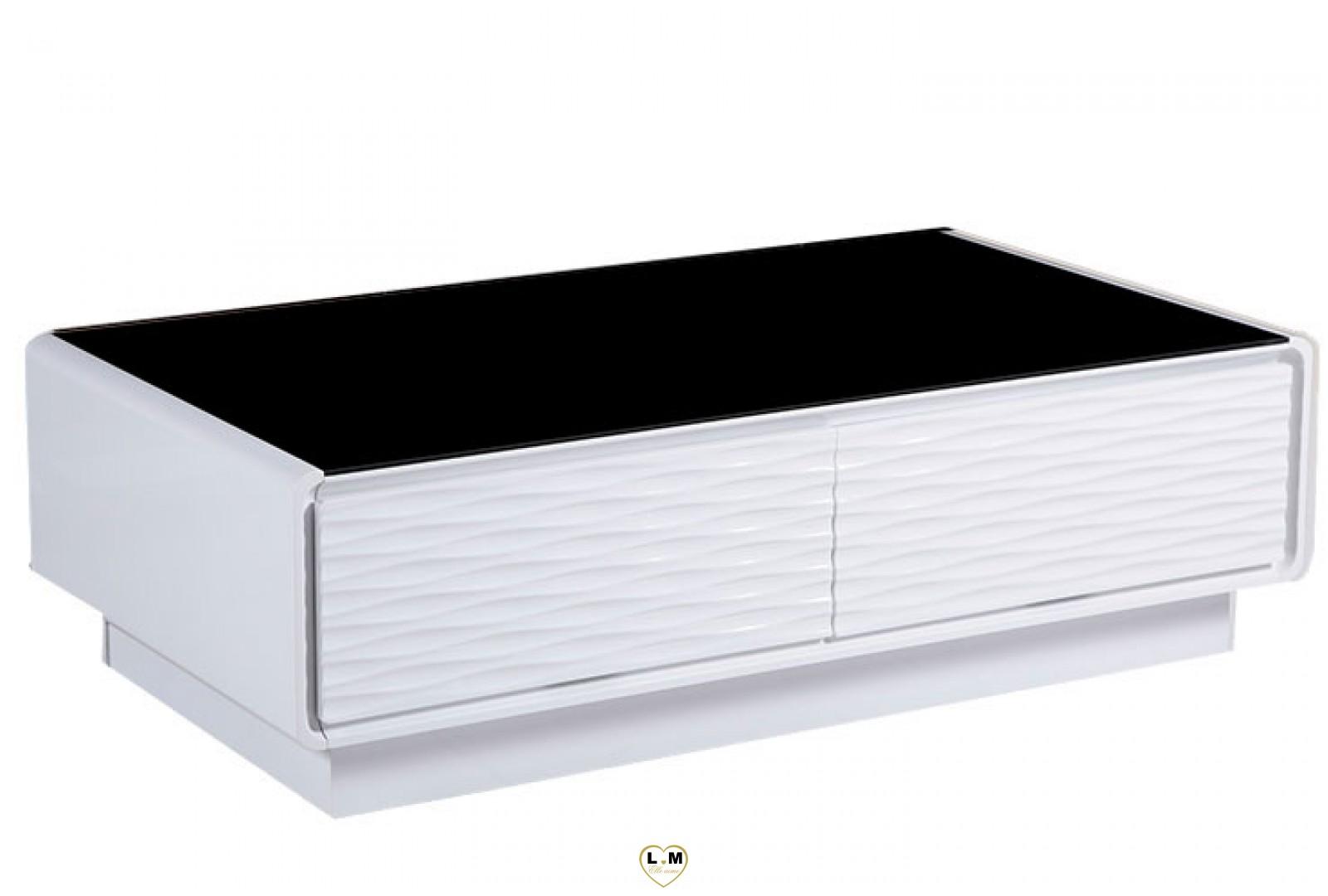 Tba118 table basse laque blanc verre noir lignemeuble com - Table basse noir laque ...