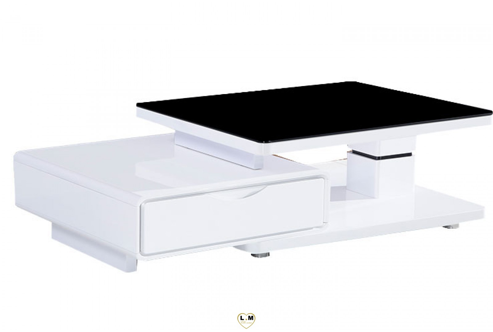 tba128b table basse laque blanc verre noir lignemeuble com. Black Bedroom Furniture Sets. Home Design Ideas
