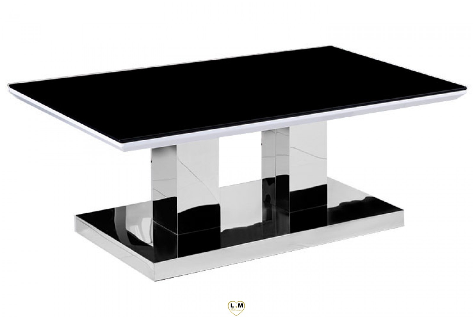 tba601 table basse chrome plateau verre noir lignemeuble com. Black Bedroom Furniture Sets. Home Design Ideas