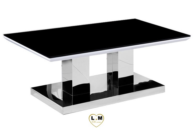 TBA601 TABLE BASSE CHROME PLATEAU VERRE NOIR
