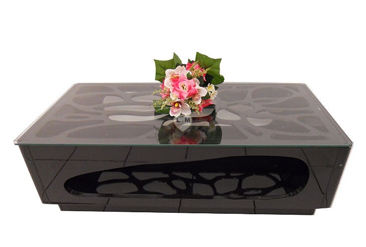 TBA190N TABLE BASSE LAQUE NOIR VERRE TRANSPARENT