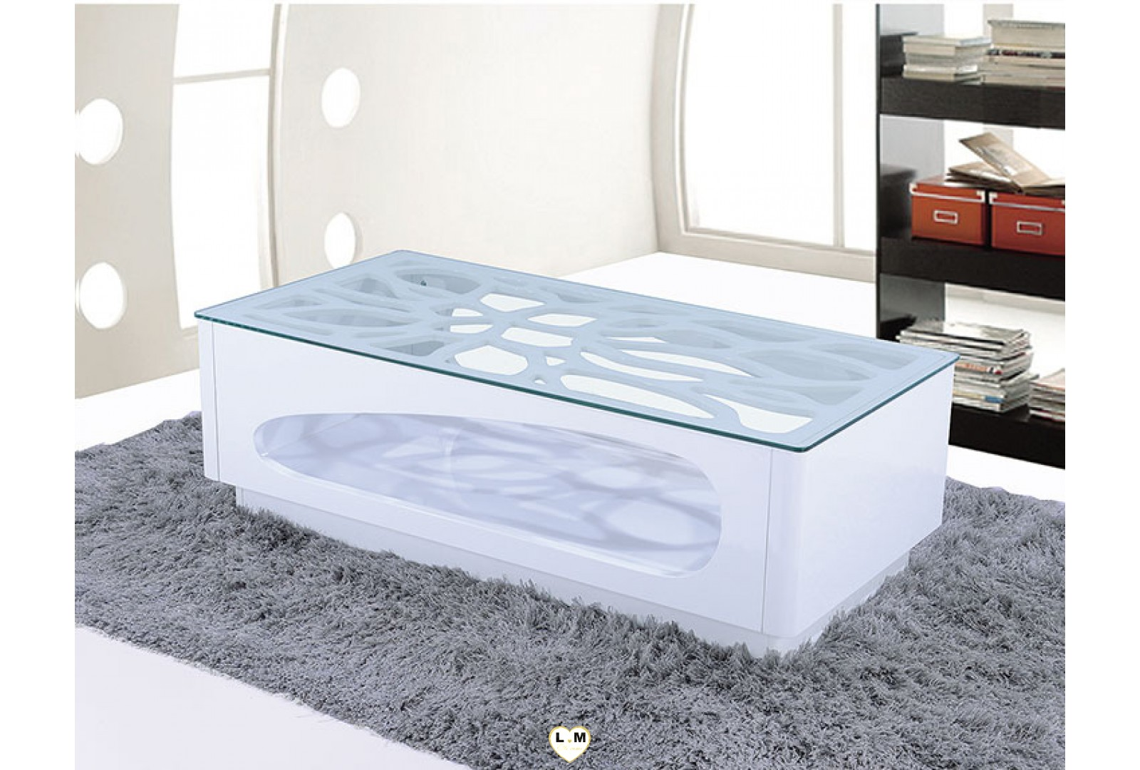 tba190b table basse laque blanc verre transparent. Black Bedroom Furniture Sets. Home Design Ideas
