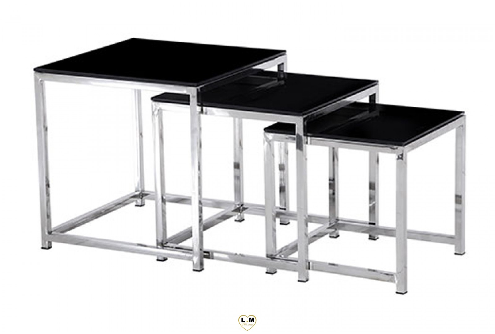 D4 set table gigogne chrome plateau verre noir for Set de table pour table en verre