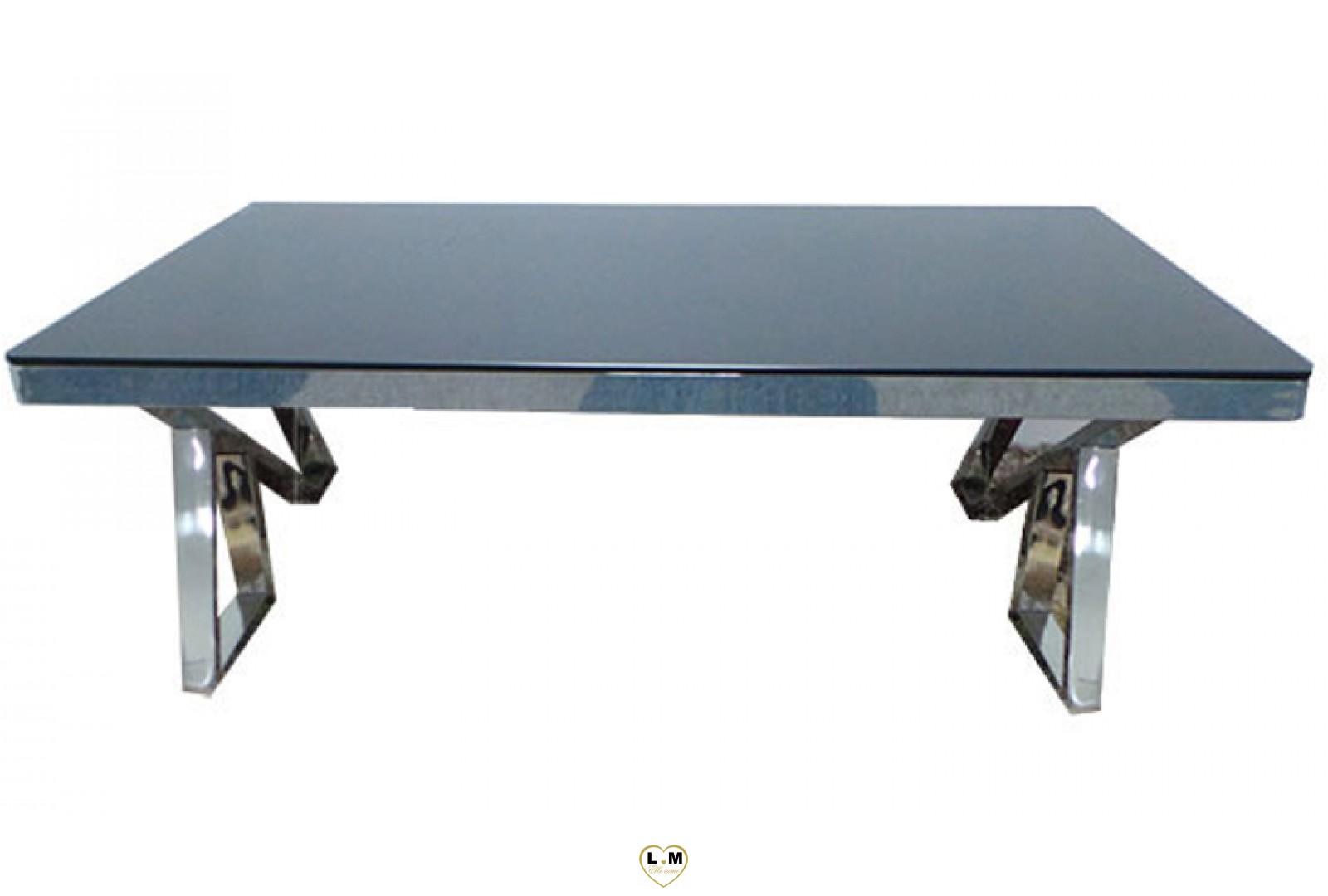 Tbad7 table basse chrome verre noir lignemeuble com - Table basse verre noir ...