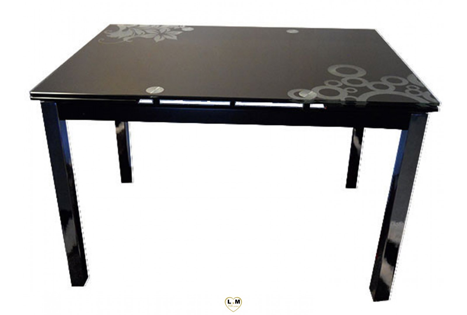 T017n table allonge salle a manger plateau verre noir for Table a manger noir