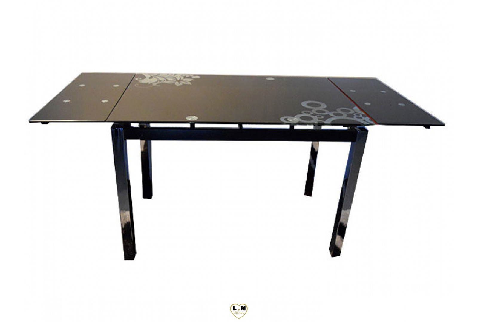 t017n table allonge salle a manger plateau verre noir. Black Bedroom Furniture Sets. Home Design Ideas