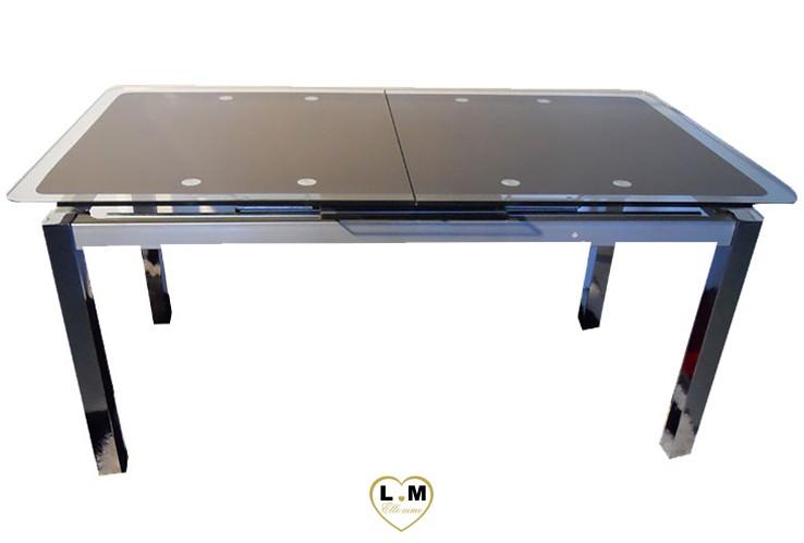 T0188 table allonge salle a manger plateau verre noir - Table salle a manger plateau verre ...