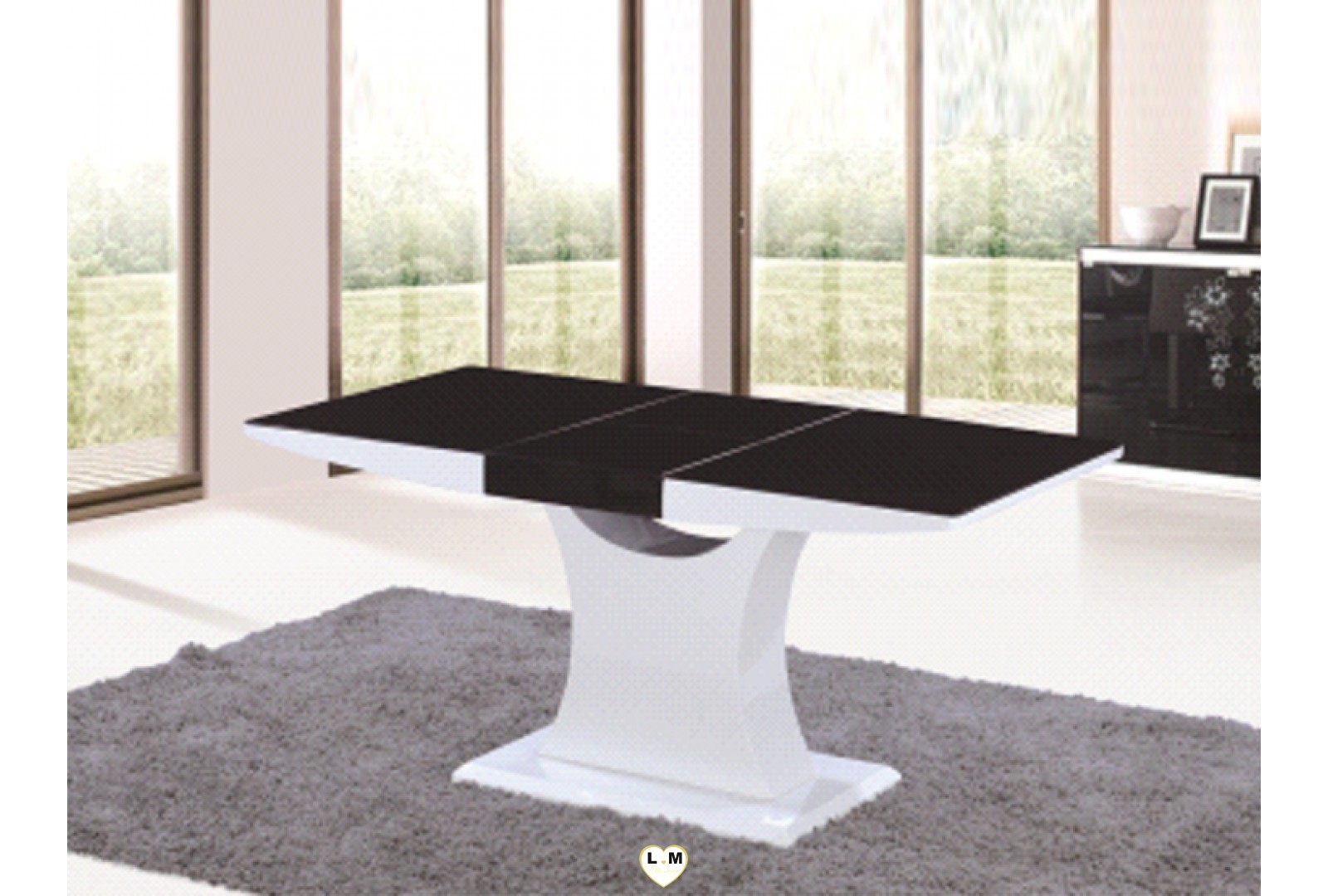 t107nb table allonge salle a manger laque blanc et verre noir lignemeuble com. Black Bedroom Furniture Sets. Home Design Ideas