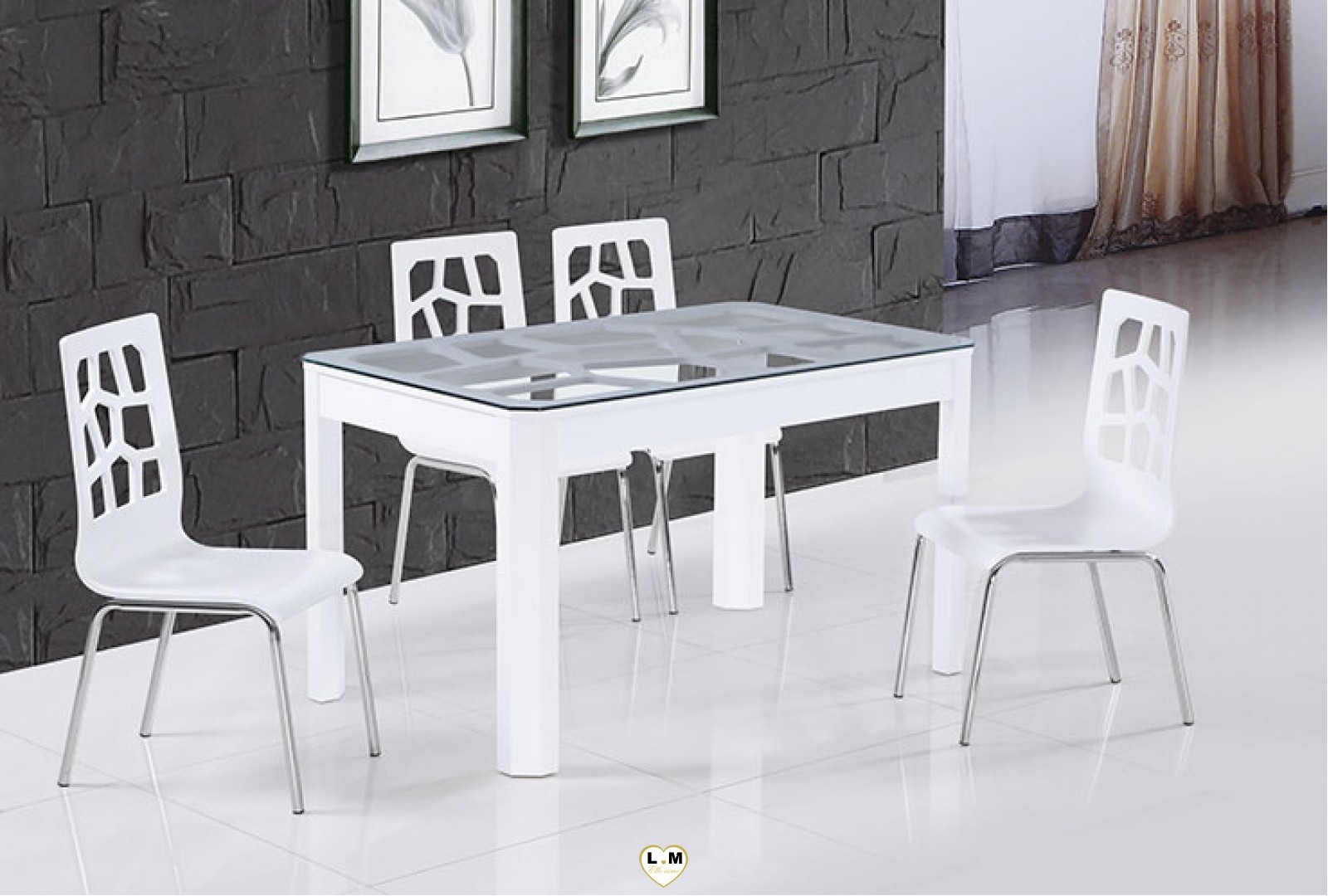 t110g table salle a manger laque blanc plateau verre lignemeuble com. Black Bedroom Furniture Sets. Home Design Ideas