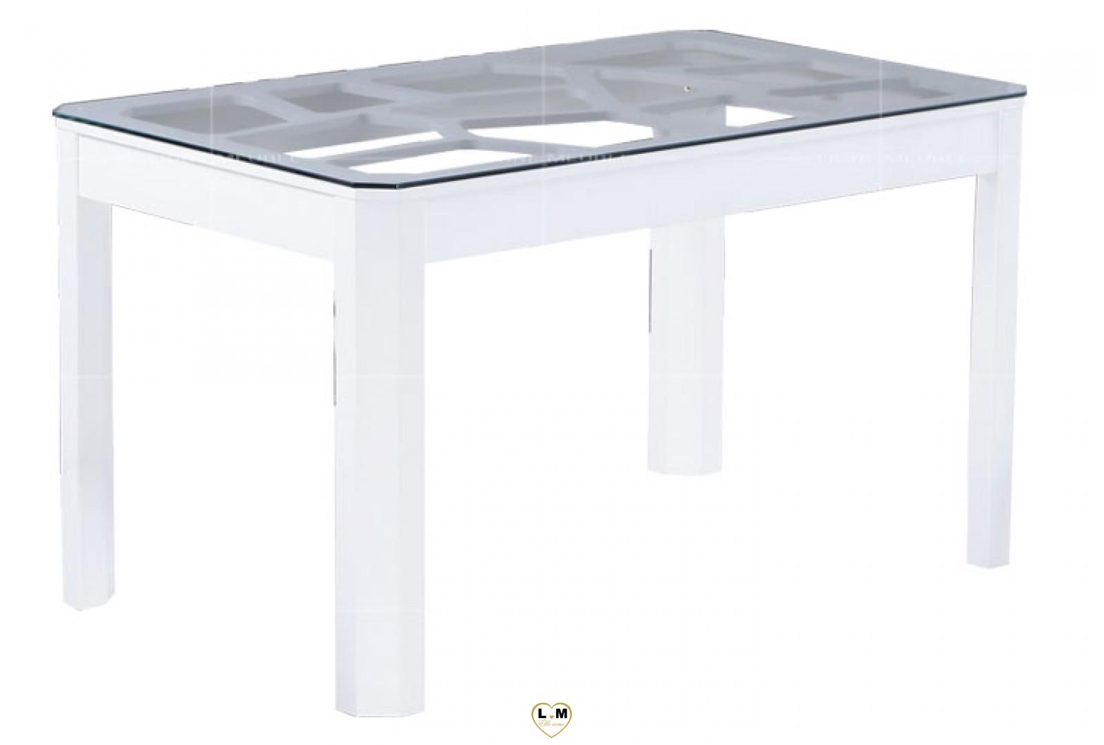 T110g table salle a manger laque blanc plateau verre for Table salle a manger plateau verre