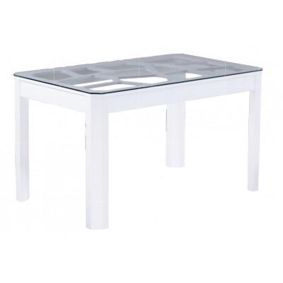 T110g table salle a manger laque blanc plateau verre for Table salle a manger verre blanc
