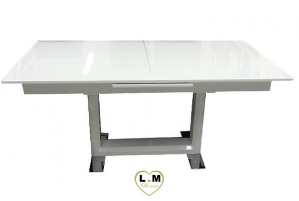 Tv b meuble tv laque blanc verre noir lignemeuble com for Table salle a manger blanc laque