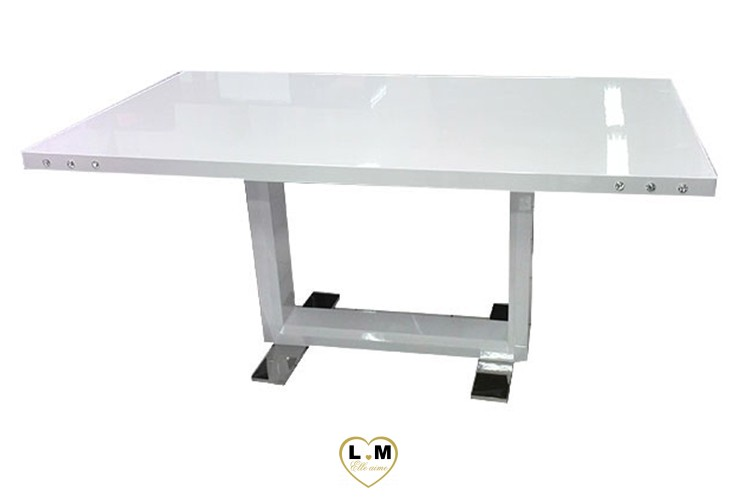T12B TABLE SALLE A MANGER LAQUE BLANC
