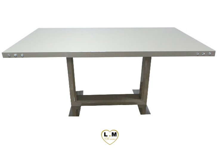 T12T TABLE SALLE A MANGER LAQUE TAUPE