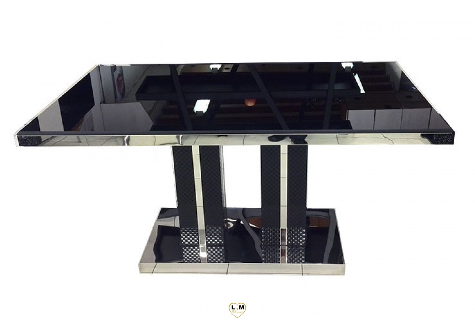 t8010 table salle a manger noire plateau verre noir. Black Bedroom Furniture Sets. Home Design Ideas