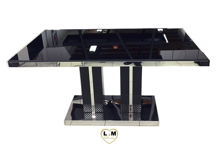 t8010 table salle a manger noire plateau verre noir lignemeuble com. Black Bedroom Furniture Sets. Home Design Ideas