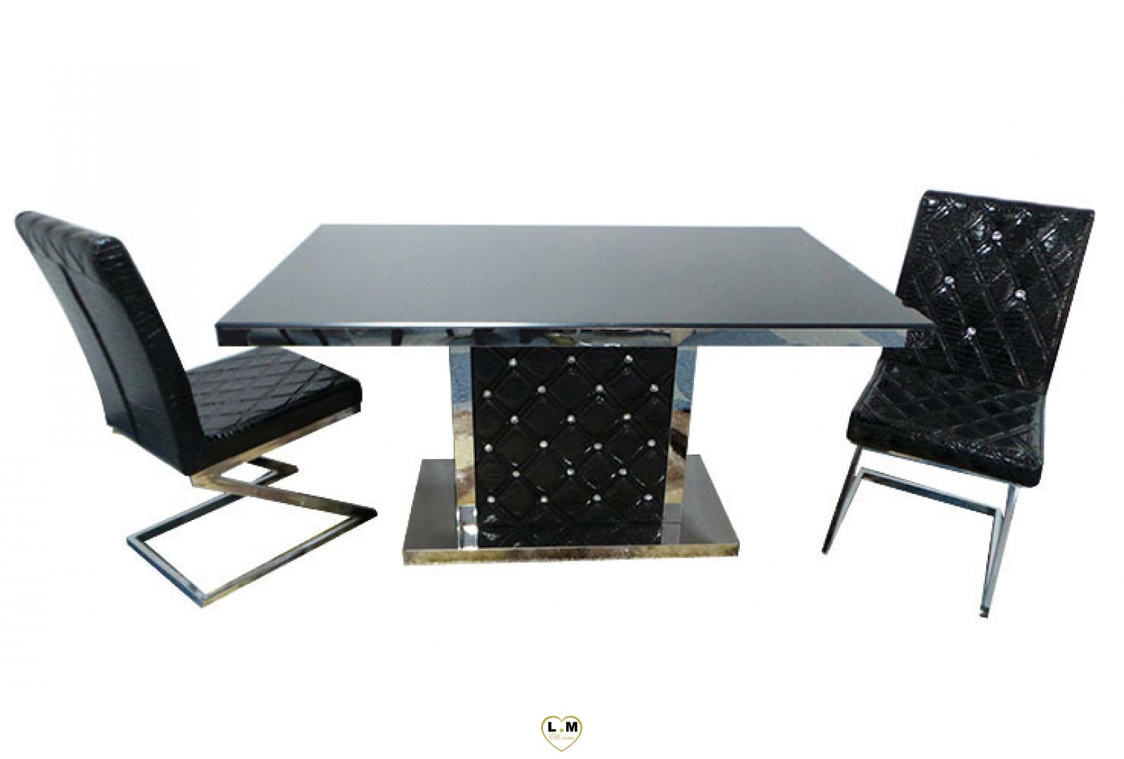 t8032n table salle a manger noire plateau verre noir lignemeuble com. Black Bedroom Furniture Sets. Home Design Ideas