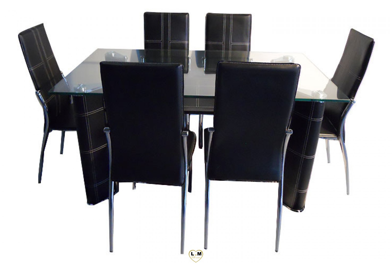 t812 table salle a manger noir plateau verre lignemeuble com. Black Bedroom Furniture Sets. Home Design Ideas