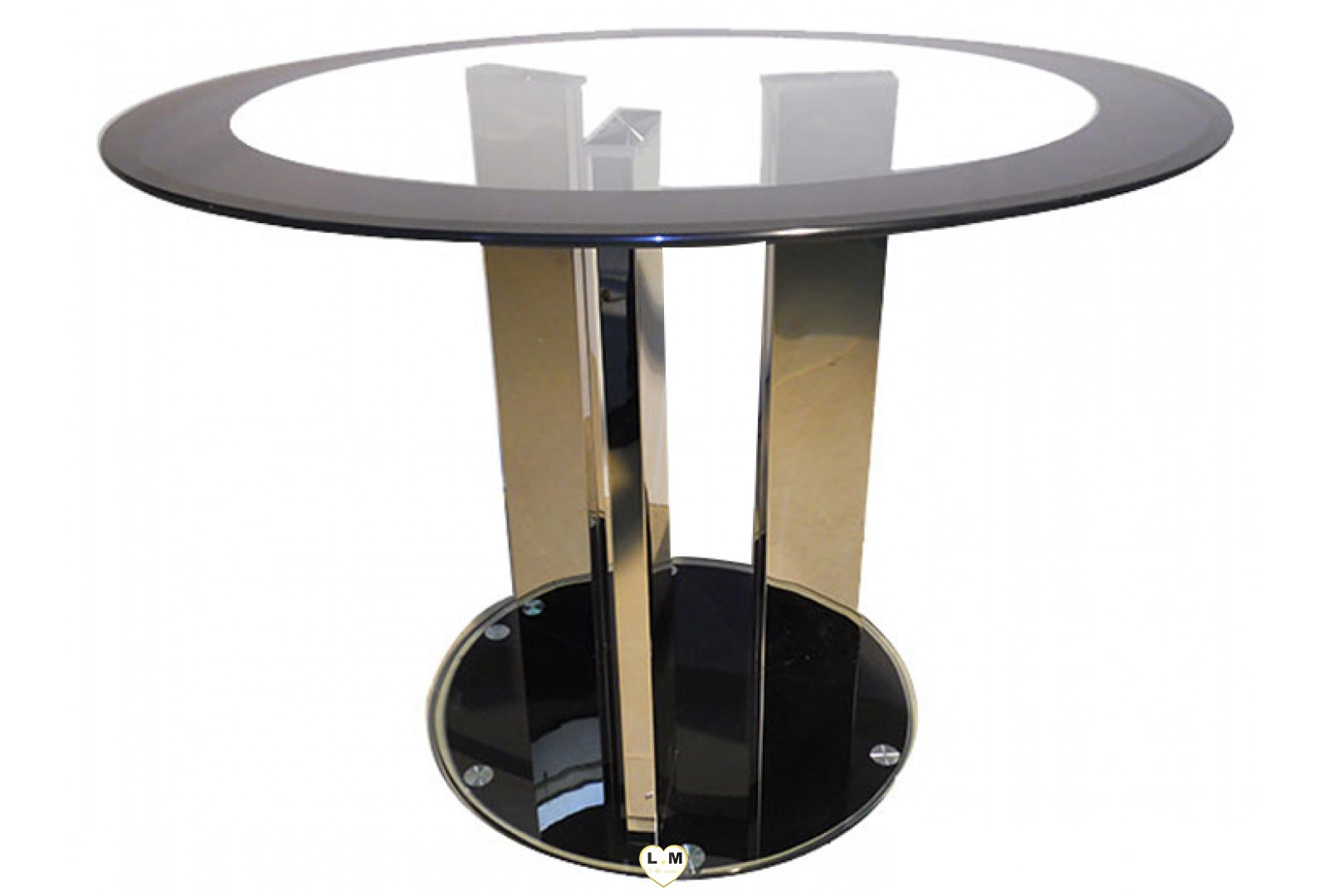 T887 table salle a manger ronde verre transparent for Table a manger ronde