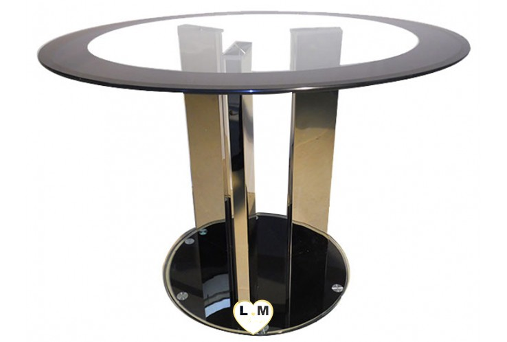 T887 TABLE SALLE A MANGER RONDE VERRE TRANSPARENT