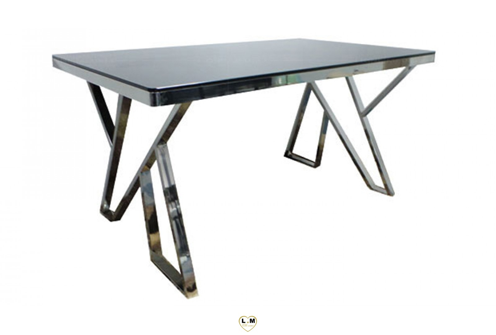 td6 table salle a manger plateau verre noir lignemeuble com. Black Bedroom Furniture Sets. Home Design Ideas
