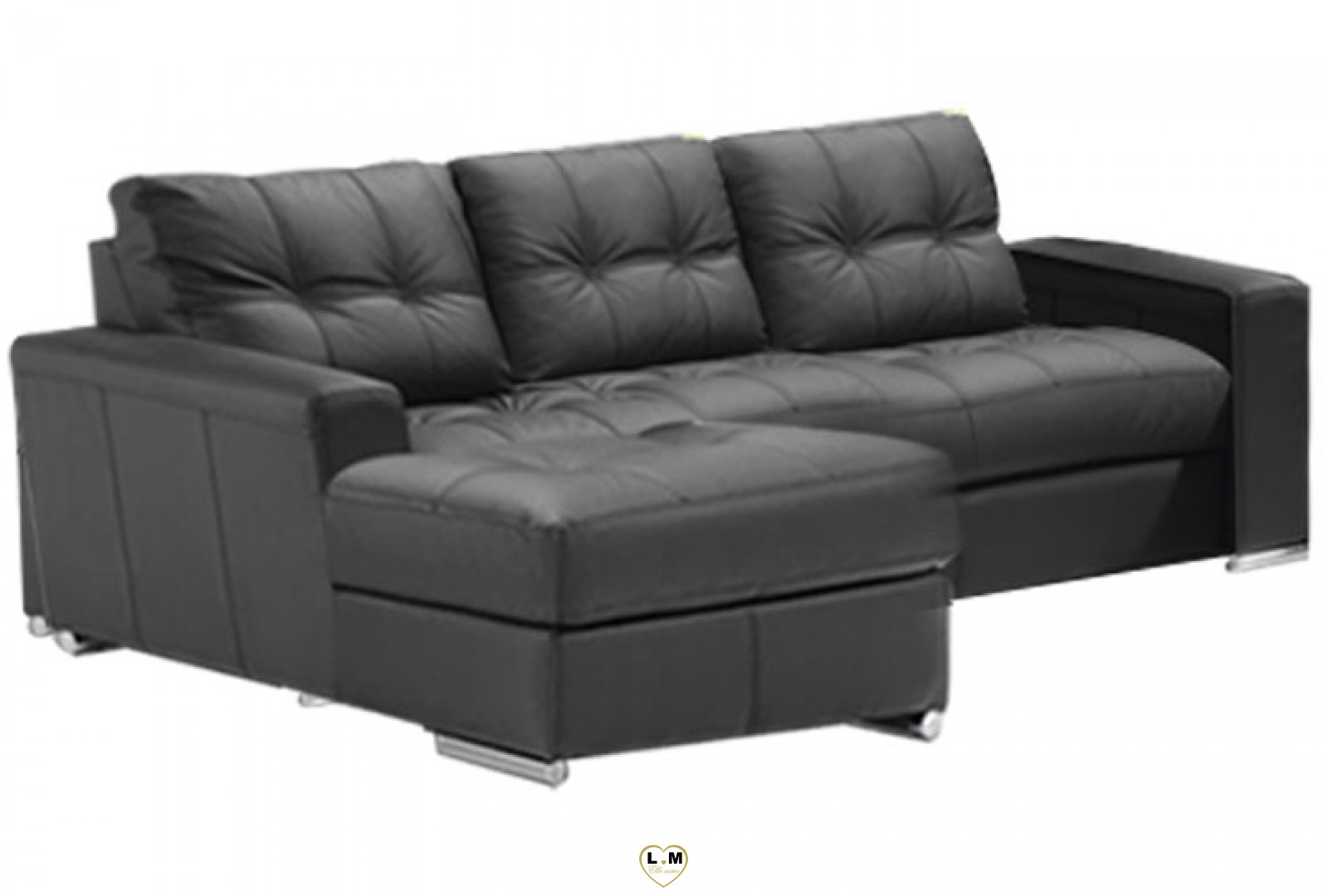 Alexie angle chaise longue ensemble salon cuir for Salon angle cuir