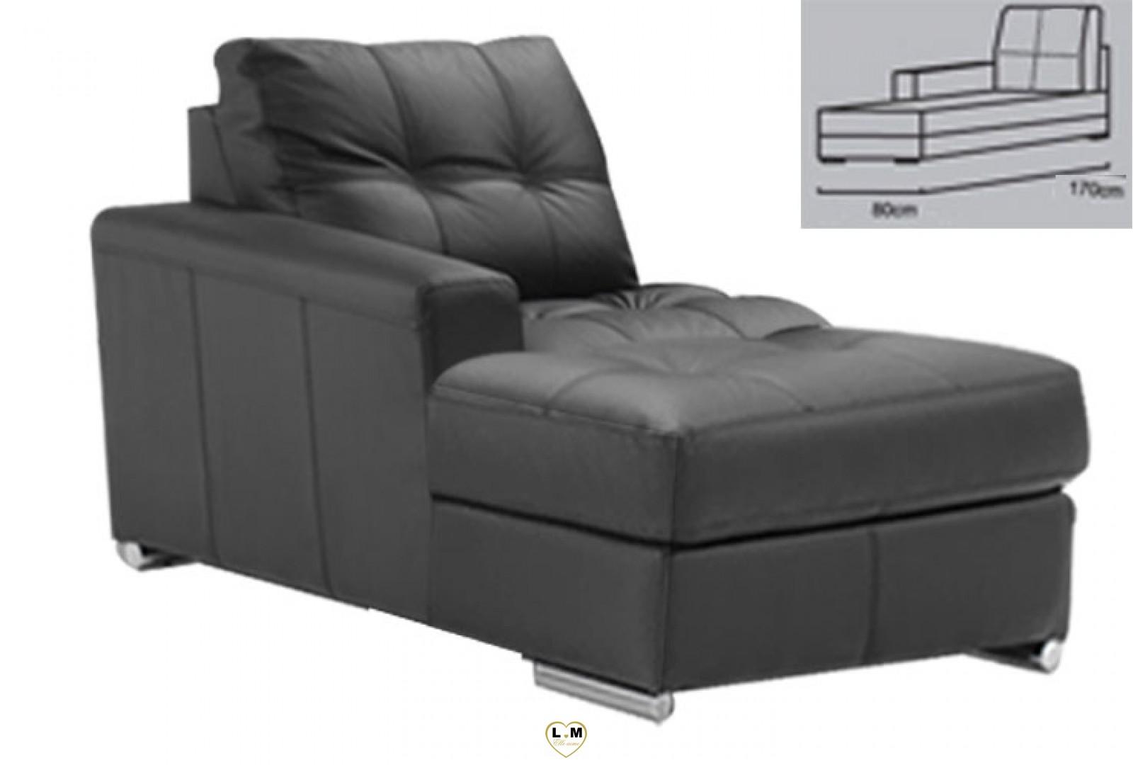 Alexie angle salon cuir la chaise longue gauche for Chaise 87 cm