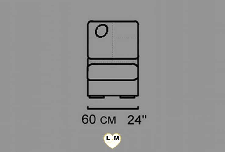 ALEXIE ANGLE SALON CUIR: La Chauffeuse 1 Place - Longueur: 60 cm - Profondeur: 92 cm - Hauteur: 87 cm  (O)