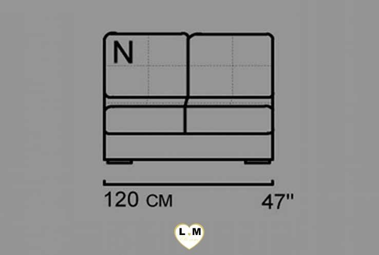 ALEXIE ANGLE SALON CUIR: La Chauffeuse 2 Places - Longueur: 120 cm - Profondeur: 92 cm - Hauteur: 87 cm  (N)
