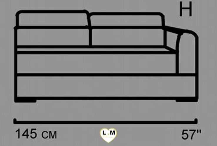 AMELIE ANGLE SALON CUIR: Le Batard 2 Places Droites - Longueur: 145 cm - Profondeur: 102 cm - Hauteur: 80-100 cm (H)