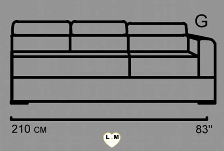 AMELIE ANGLE SALON CUIR: Le Batard 3 Places Droites - Longueur: 205 cm - Profondeur: 102 cm - Hauteur: 80-100 cm (C)