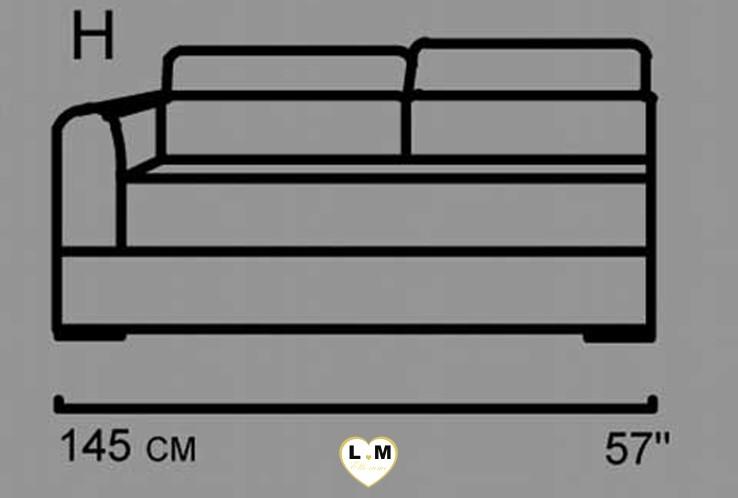 AMELIE ANGLE SALON CUIR: Le Batard 2 Places Gauche - Longueur: 145 cm - Profondeur: 102 cm - Hauteur: 80-100 cm (H)