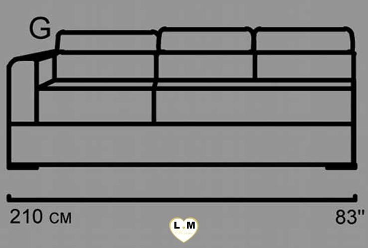 AMELIE ANGLE SALON CUIR: Le Batard 3 Places Gauches - Longueur: 205 cm - Profondeur: 102 cm - Hauteur: 80-100 cm (C)