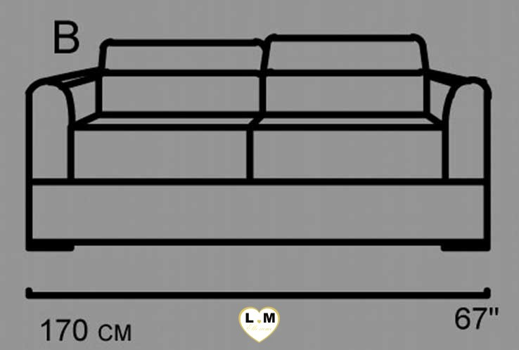AMELIE SALON CUIR: Le Canapé 2 Places - Longueur: 170 cm - Profondeur: 102 cm - Hauteur: 80-100 cm (B)