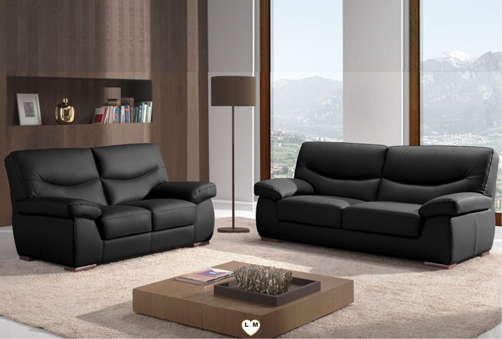 angelique ensemble salon cuir lignemeuble com. Black Bedroom Furniture Sets. Home Design Ideas