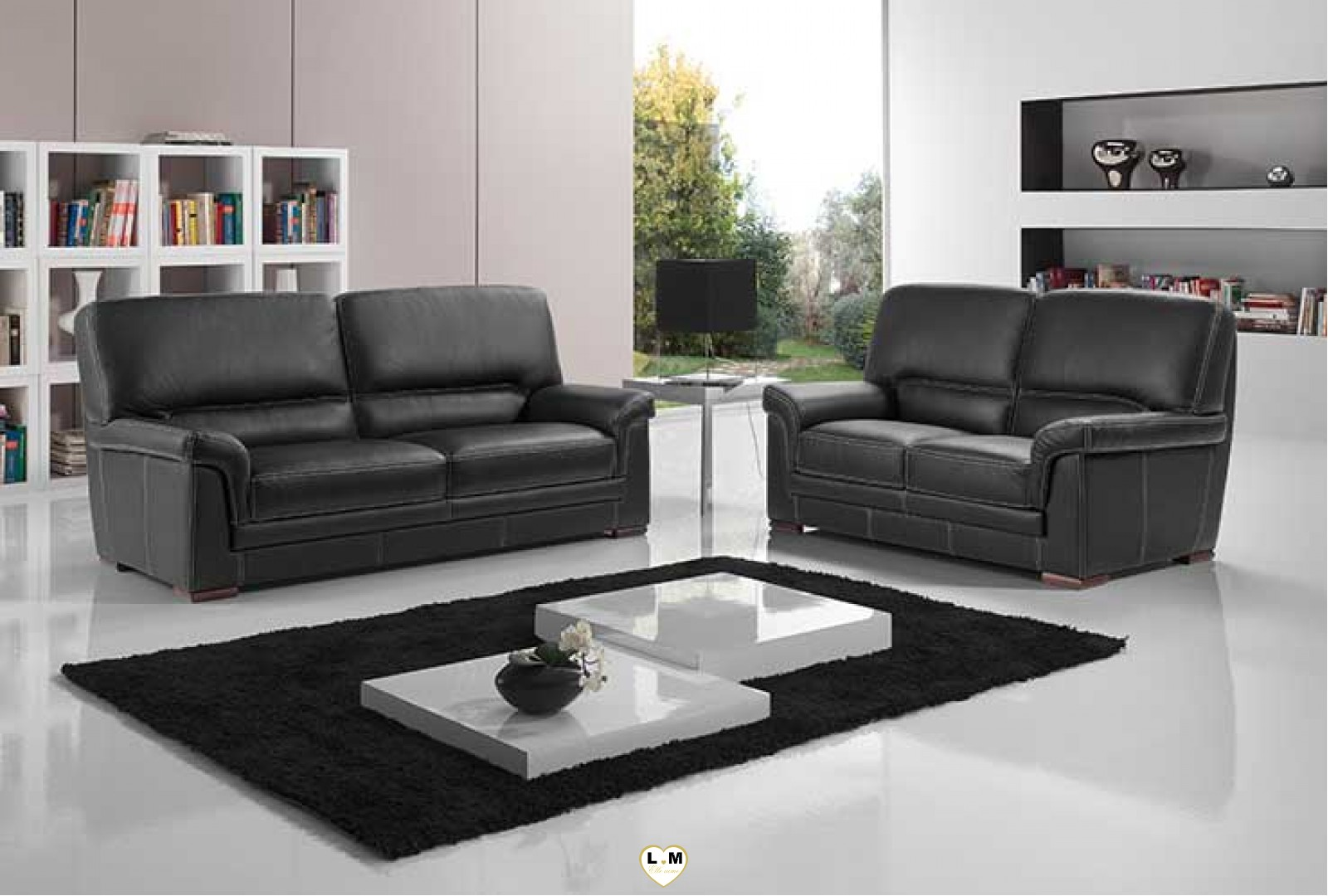 anita ensemble salon cuir lignemeuble com. Black Bedroom Furniture Sets. Home Design Ideas