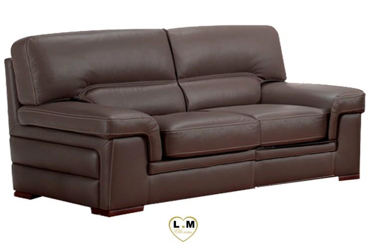 ANNABELLE SALON CUIR: Le Canapé 3 places - Longueur: 220 cm - Profondeur: 98 cm - Hauteur: 92 cm (A)
