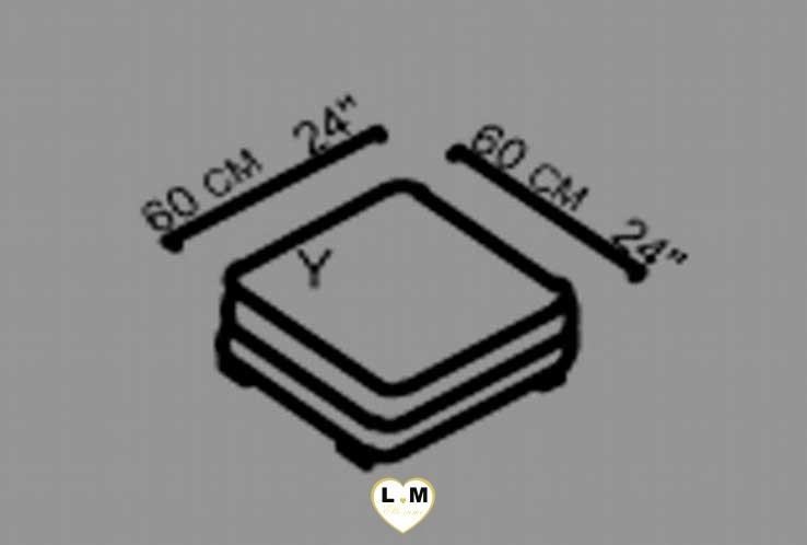 ARGOS SALON CUIR: Le Pouf Carré  (Y) Longueur : 60 cm x Largeur : 60 cm x Hauteur : 45 cm