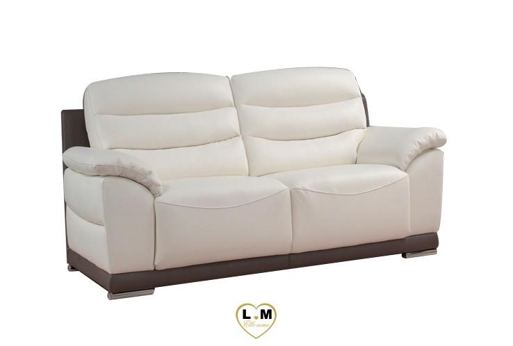 BLANCHE SALON CUIR: Le Canapé 2 places - Longueur: 184 cm - Profondeur: 102 cm - Hauteur: 86 cm (B)