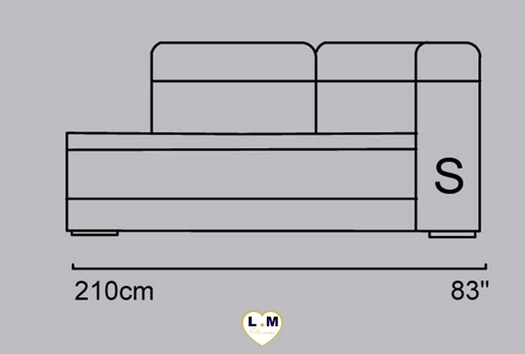 CANDIE ANGLE SALON CUIR: L'Angle Terminal Méridienne Gauche- Longueur: 210cm - Profondeur: 106 cm - Hauteur: 90 /100cm (S)
