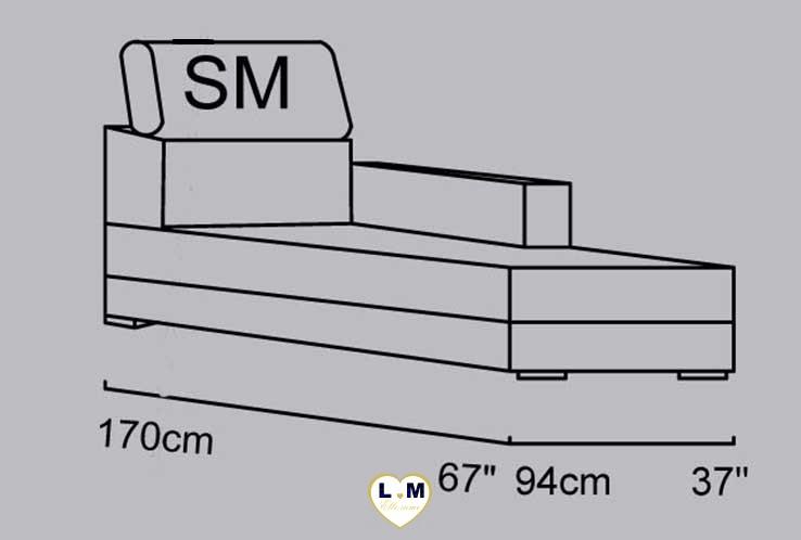 CANDIE ANGLE SALON CUIR: La Chaise Longue Droite - Longueur: 94 cm - Profondeur: 170 cm - Hauteur: 90 /100cm (SM)