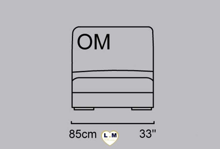 CAPUCINE ANGLE SALON CUIR: La Chauffeuse 1,5 Places - Longueur: 85 cm - Profondeur: 100 cm - Hauteur: 86 cm (OM)