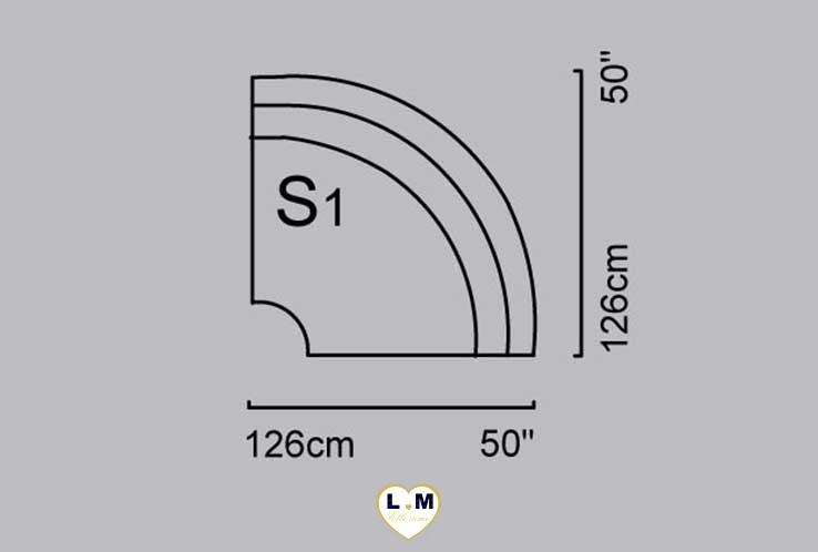 CAPUCINE ANGLE SALON CUIR: L' Angle - Longueur: 126 cm - Profondeur: 126 cm - Hauteur: 86 cm (S1)