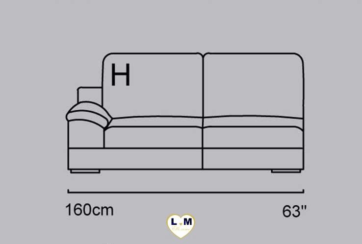 CAPUCINE ANGLE SALON CUIR: Le Bâtard Gauche 2 Places - Longueur: 160 cm - Profondeur: 100 cm - Hauteur: 86 cm (H)