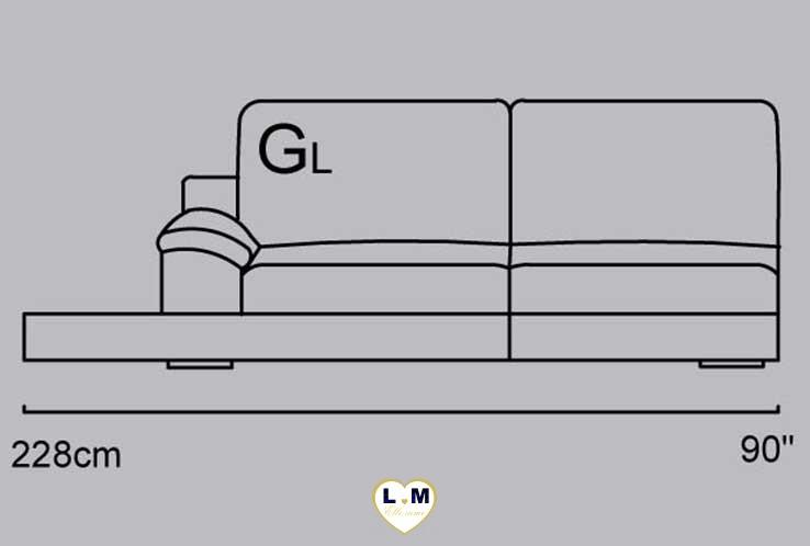 CAPUCINE ANGLE SALON CUIR: Le Bâtard Gauche Prolongé 3 Places - Longueur: 188 cm - Profondeur: 100 cm - Hauteur: 86 cm (GL)