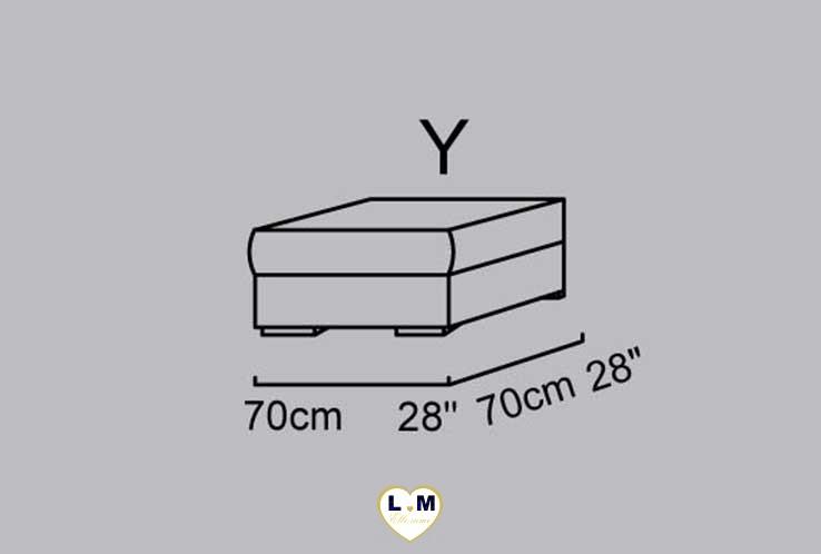 CAPUCINE ANGLE SALON CUIR: Le Pouf Carré (Y) Longueur : 70 cm x Largeur : 70 cm x Hauteur : 48 cm