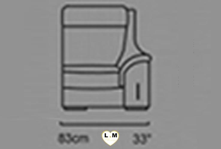 CARINE ANGLE SALON CUIR: Le Bâtard Droit 1 Place - Longueur: 83 cm - Profondeur: 95 cm - Hauteur: 99 cm (I)