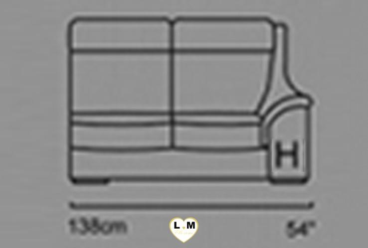 CARINE ANGLE SALON CUIR: Le Bâtard Droit 2 Places - Longueur: 138 cm - Profondeur: 95 cm - Hauteur: 99 cm (H)